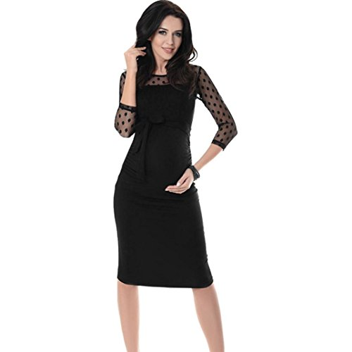 Pregnant Prom Queen Costume (Womens Dress,FUNIC Women Maternity Ruched Bodycon Pregnancy Dress Polka Dot Lace Dress (S, Black))