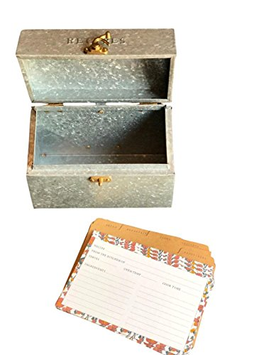 Hearth & Hand by Magnolia Recipe Holder Metal Galvanized Tin and 20 Ct Recipe Card Set Joanna Gaines by Hearth & Hand by Magnolia