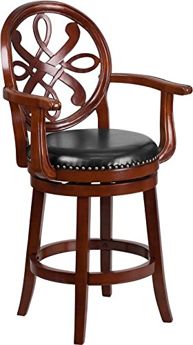 - Estella 26'' Cherry Wood Counter Stool w/Arms & Black Leather Swivel Seat