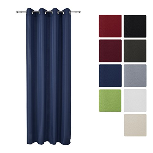 Beautissu® Blickdichter Ösen-Vorhang Amelie - 140x175 cm Blau Uni - Dekorative Gardine Ösenschal Fenster-Schal
