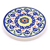 Polish Pottery Coaster 3-inch Hearts Around Hearts
