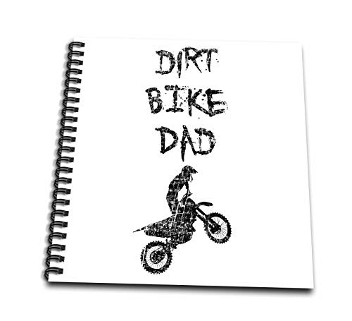 3dRose Carsten Reisinger - Illustrations - Dirt Bike Dad Motorcycle Motocross Enduro Biker Grunge Design - Drawing Book 8 x 8 inch (db_293419_1)