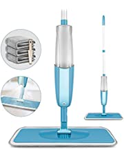 MEXERRIS Microfiber Spray Mop for Hardwood Floor Cleaning - Wet and Dry, Microfiber Dust Mop with 410 Milliliter 360 Degree Spin Water Tank Sprayer Include 3 Microfiber Reusable Pads and 1 Scraper