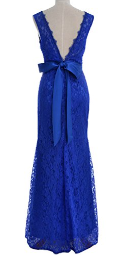 MACloth Women Mermaid V Neck Lace Long Mother of Bride Dress Formal Evening Gown Rojo