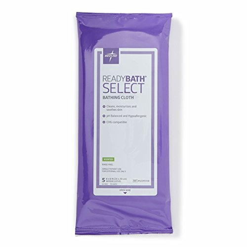 Medline ReadyBath Select Body Cleansing Cloth Wipes, Scented, Medium Weight Wipes (5 Count Pack, 30 Packs)