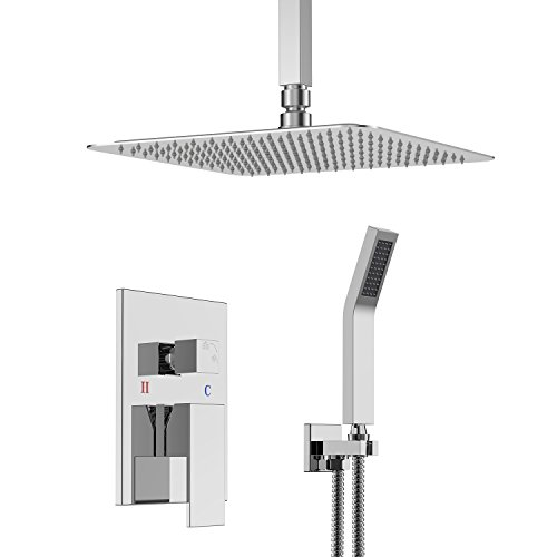 Ceiling Mount Faucet Tub (SR SUN RISE SRSH-C1003 Ceiling Mount Bathroom Luxury Rain Mixer Shower Combo Set Ceiling Install Rainfall Shower Head System Polished Chrome (Contain Shower faucet rough-in valve body and trim))