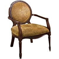 Furniture of America Graham Padded Fabric and Hand-Carved Frame Arm Chair, Dark Oak Finish