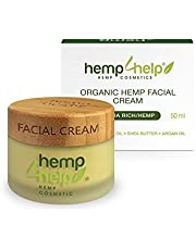 Ultra Rich Organic Hemp Facial Cream with Hemp Extract, Jojoba Oil, Argan Oil, Shea Butter. Creamy Quick-Absorb to Heal Dry Skin, Blemishes for Youthful, Healthy Skin