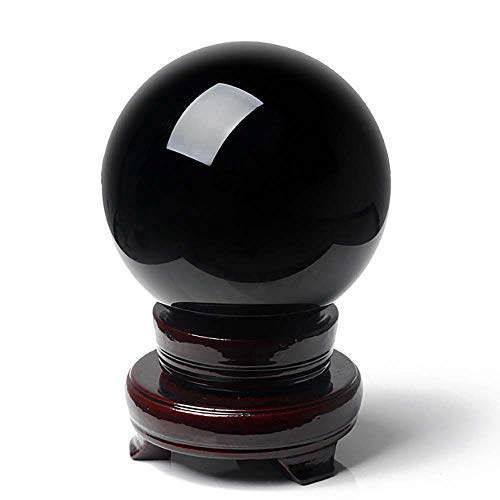BCQLI 120 mm(4.72 inch) XXXL Natural Extra Large Black Obsidian Divination Sphere Crystal Ball with Stand