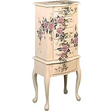 coaster jewelry armoire ivory finish wood with hand painted roses floral amazoncom antique jewelry armoire