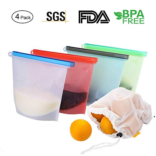 Reusable Silicone Food Preservation Bags, Storage Container Bag For Freeze, Steam, Microwave, Cooking, Lunch, Snack, Sandwich (4pack+ 2pcs Reusable Mesh Bags)