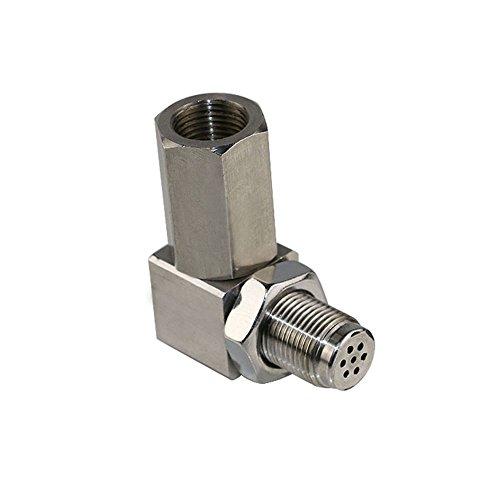 Jzz Cozma 90 Degree Angled adapter O2 Sensor spacer Check Engine Light Cel Fix - Stainless Steel 201 with Mini Catalytic Converter Inside Catalytic Converter O2 Sensor