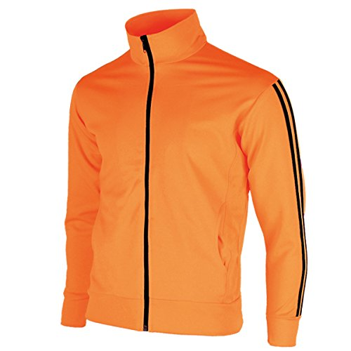 myglory77mall Men's Running Jogging Track Suit Warm Up Jacket Gym Training Wear XS US(M Asian Tag) Neon Orange -