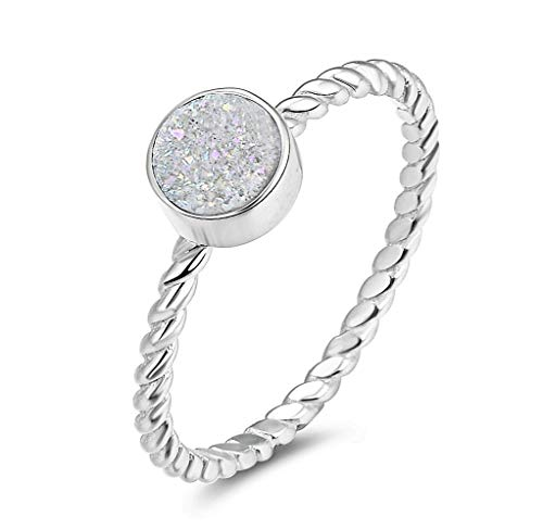 Energy Stone Simply Drusy Sterling Silver Round Drusy Stacking Ring (Style# ST01) (White, ()
