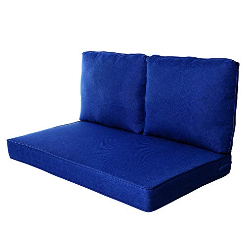 Quality Outdoor Living All Weather Deep Seating Patio Loveseat Seat and Back Cushion Set, 46-Inch by 26-Inch, Cobalt (Patio Cushions Deep Furniture Seating)