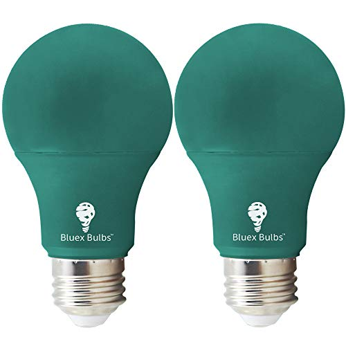 - 2 Pack BlueX LED A19 Green Light Bulb - 9W (75Watt Equivalent) - Dimmable - E26 Base Green LED Color Bulb, Party Decoration, Porch, Home Lighting, Holiday Lighting, Decorative Illumination (Green)
