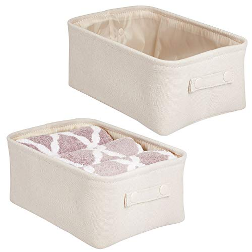 mDesign Soft Cotton Fabric Closet Storage Organizer Bin Basket with Coated Interior and Attached Carrying Handles for Bathroom Vanity, Cabinet, Shelf, Countertop - Wide, 2 Pack - Cream/Beige