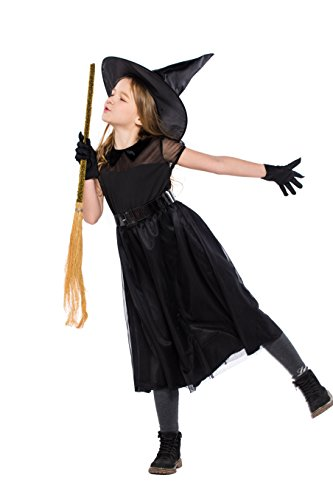 YOLSUN Girls' Witch Costume, Halloween Children Classic Witchy Dress up (6-7y(Suggested Height:47