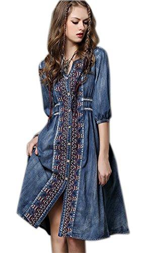 R.Vivimos Womens Autumn Half Sleeve Buttons Denim Short Dresses Large