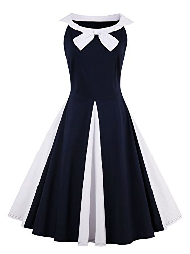 Summer Dress Bowknot Women's Pretty Sleeveless Blue Cute CASF Dark A4xgnqfw5