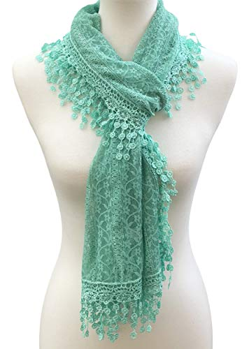 Cindy and Wendy Lightweight Soft Leaf Lace Fringes Scarf shawl for Women (Turquoise-2)