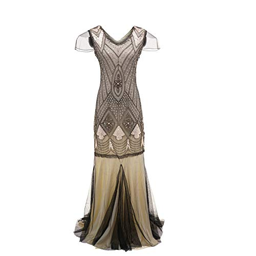 SmarketL High end Women Vintage 1920s Bead Fringe Sequin Embellished Party Flapper Gatsby Dress 2018, Beige,]()