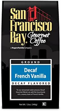 San Francisco Bay Coffee, Decaf French Vanilla- Ground, 12 Ounce, Swiss Water Process- Decaffeinated, Flavored