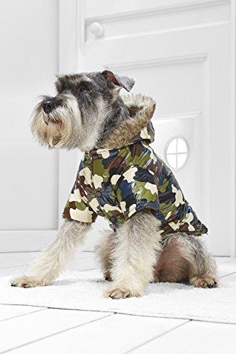 Small Dog Warm Hooded Coat For Mini Schnauzer Bichon Dachshund Havanese Min Pin (Small Size, dark green, brown, beige,