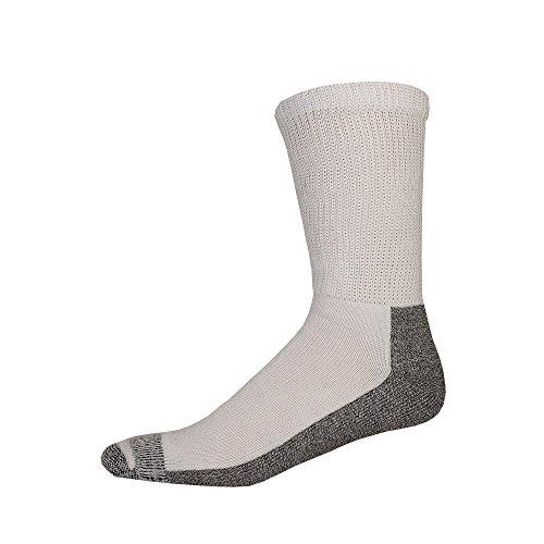 Dickies Men's Steel Toe Non-Binding Crew Socks - 10-13 Sock/6-12 Shoe - White With Grey ( 2 Pack)