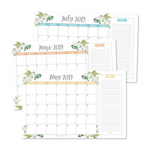 Wall Desktop - Greenery 2019-2020 Large Monthly Desk or Wall Calendar Planner, Big Giant Planning Blotter Pad, 18 Month Academic Desktop, Hanging 2-Year Date Notepad Teacher, Mom Family Home Business Office 11x17