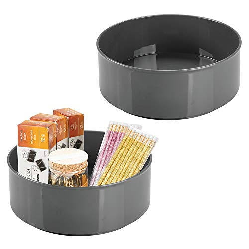 - mDesign Deep Plastic Spinning Lazy Susan Turntable Storage Container for Desktop, Drawer, Closet - Rotating Organizer for Home Office Supplies, Erasers, Colored Pencils - 2 Pack - Charcoal Gray