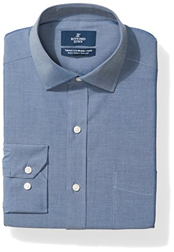 BUTTONED DOWN Men's Tailored Fit Stretch Poplin Non-Iron Dress Shirt, Denim Blue, 16