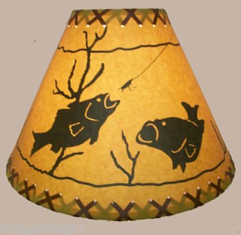 16 Inch Fish Rustic Lamp Shade.....Click on Photos to View Sizing and Style ()