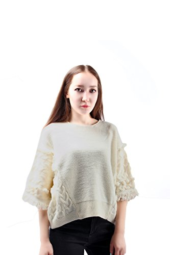 LE'AIN Women's Casual Bawting Sleeves Wool Cable Knit Pullover Sweater (Maternity Crewneck Cable Sweater)