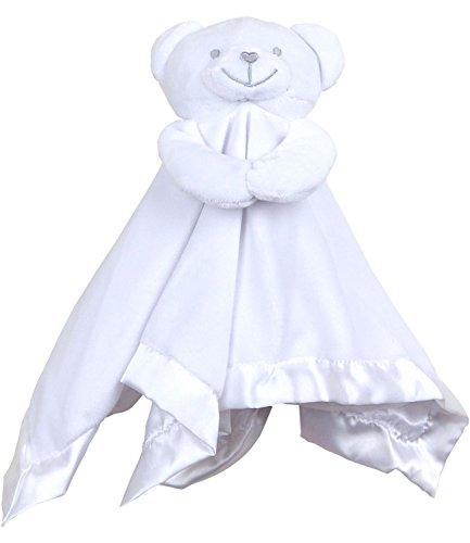 BabyPrem Baby Velour Teddy Bear Comfort Blanket Boys Girls Comforter WHITE