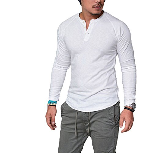 XWDA Henley Shirt Mens Long Sleeve Buttons T-Shirt Casual Muscle Tops Tee Blouse