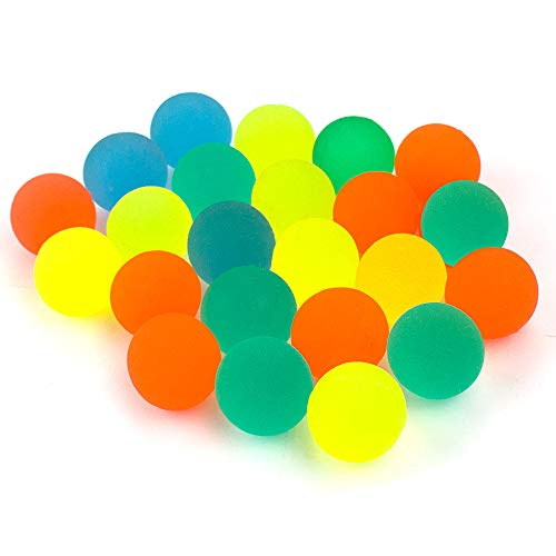 (Perzodo 24 PiecesJet Bouncy Balls 25mm Mixed Color Mini Rubber Bouncing Ball for Bag Filler, Party Favor, Christmas Gift, Class Activities, Kids Playtime and Picnic Outdoors)