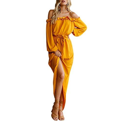 QIYUN.Z El Vestido Amarillo Sin Tirantes De La Falbala De La Manga Del Cuello De La Manga De Las Mujeres Forma Larga Amarillo