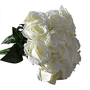 Ameesi 1 Large Bouquet 24 Heads Fake Rose Artificial Flower Wedding Party Home Decor – White