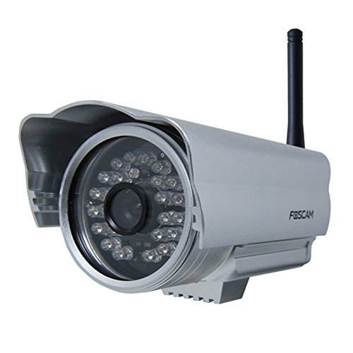 Foscam FI8904W Outdoor Wireless/Wired IP Camera with 15 - 20 Meter Night Vision and 2.8mm Lens (50° Viewing Angle) - Silver (Wireless Webcam Foscam)