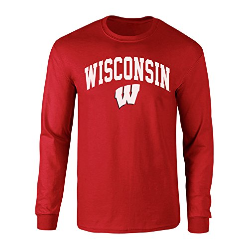 factory authentic c9823 5a945 Elite Fan Shop NCAA Men s Wisconsin Badgers Long Sleeve Shirt Team Color  Arch Wisconsin Badgers Cardinal