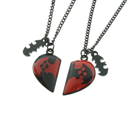 DC Comics Harley Quinn Heart Best Friends Necklace (Harley Quinn Costume Arkham Knight)