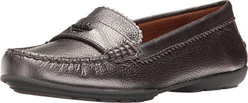 Coach Odette Leather Loafer, 7, Metallic