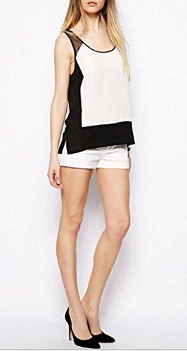 Smile YKK Débardeur Femme Mousseline de Soie Tulle Tops T-shirt Chic Noir et Blanc