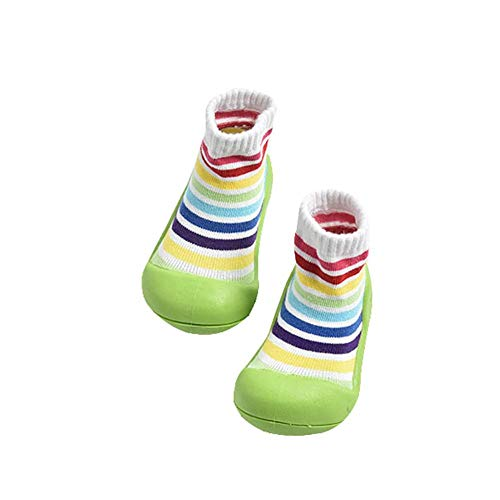 Zapatos de calcetines para bebés, suelas de goma suave antideslizante para niños, zapatos para niños pequeños, zapatos de calcetines a rayas con arco iris ...