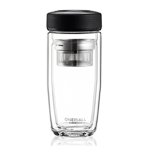 ONEISALL Tea Infuser Water Bottle Double Wall Glass Tea Tumbler with Strainer for Loose Leaf Hot Cold Drink, 380ML (Black)