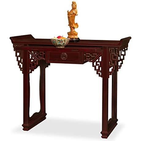 China Furniture Online Rosewood Console Table 52 Inches Longevity Design Altar Style Dark Cherry Finish