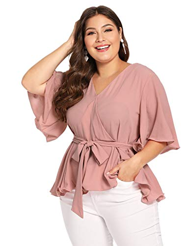 Romwe Women's Plus Size Flutter Sleeve V Neck Knot Belted Surplice Wrap Blouse Pink 3X -