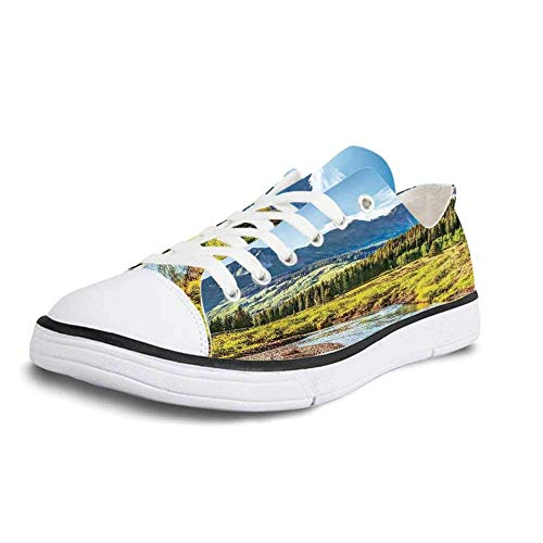 Canvas Sneaker Low Top Shoes,Lake House Decor Mountain Vista with Thick Forest Trees Mountain Flowing River Grass Cloudy Sky Valley Women 12/Man 9 (Valley Vista Sofa)
