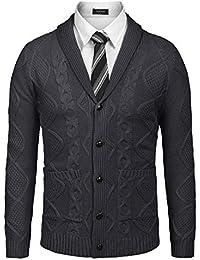 Men's Casual Knitted Merino Wool Aran Sweater Shawl Collar Button Down Cardigan Sweater